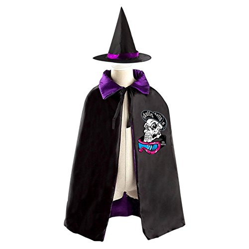 Witch Punk Adult Costumes Purple Plus (Scary Halloween Fancy Dress Punk Skull Wizard Cap And Cloak For Kids)