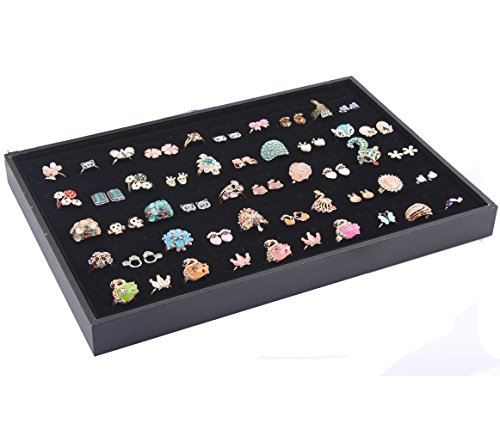 jenifer2015 Black Velvet Earring Jewelry Organizer Tray Showcase (100 slots ring or earring organizer) ()