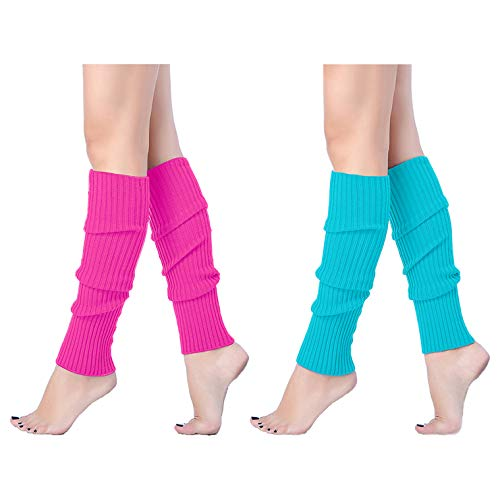 V28 Women Juniors 80s Eighty's Ribbed Leg Warmers for Party Sports, 2(Rose+Lake) ()