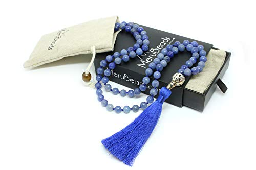 Premium Blue Aventurine Mala Beads Necklace - Handcrafted Mala Necklace - Japa Mala - Yoga Necklace for Women