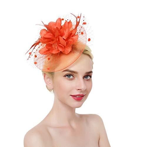 Fascinator Top Hats Flower Cocktail Hair Clip Mesh Net Feather Headwear for Women Girls Brides Tea Party Derby Orange ()