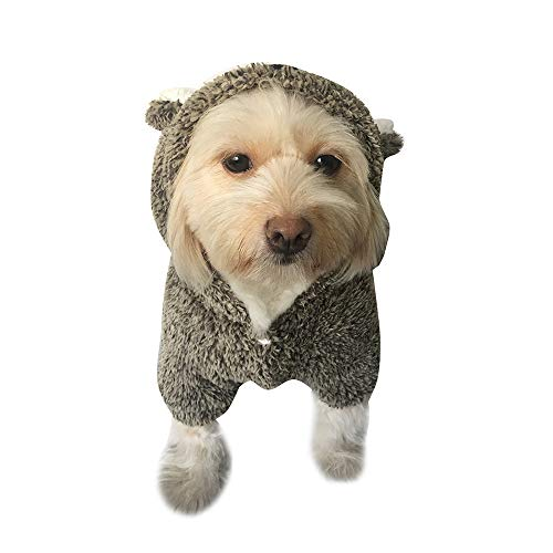 PENATE Dog Hooded Plush Sweater Winter Warm Small Pet Apparel Mini Putty Cute Bear Rabbit Hoodie Shirt with Pocket Soft Jacket Velvet Elastic Coat Sweatshirt Halloween for Doggy]()