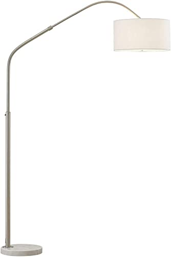 HOMEGLAM Aero 81″H Retractable Arch Floor Lamp Brushed Nickel/White Shade