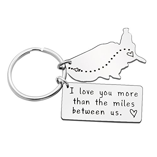 Key Chain Ring Best Friend Valentine Long Distance Relationship Gift - I Love You More Than The Miles Between Us by AGR8T