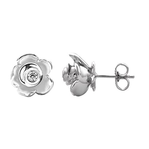Rose Shape Floral Diamond Stud Earring in 925 Sterling Silver (1/10 Carat) ()