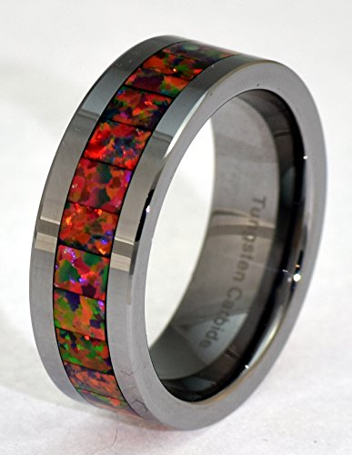 6mm-Synthetic-Opal-Tungsten-Carbide-Ring-Red-Inlays-Slight-Flash-or-Orange-and-Green-Fire
