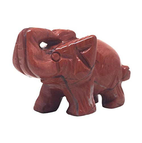(Nelson Creations, LLC Elephant Natural Red Jasper Gemstone Animal Carving Charm Totem Figurine, 1.5 Inch )