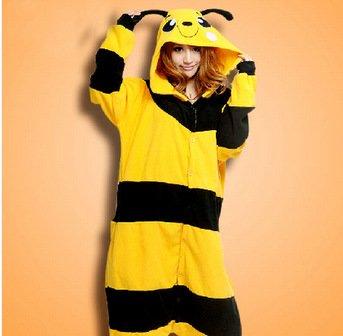 Amarillo abeja cartoon animales linda pareja hombres de pijama una sola pieza pijamas y mujer otoño