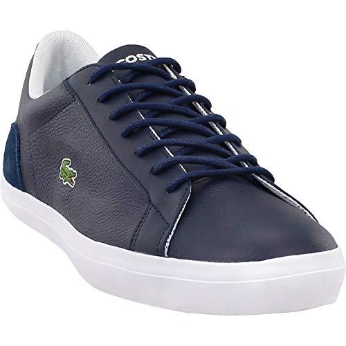 Lacoste Men's Lerond Sneaker, Navy White Leather, 9.5 Medium US