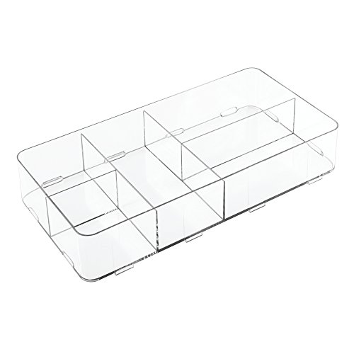InterDesign Clarity Interlocking 5 Compartment Organizer for Cosmetics and Beauty Products, Large, Clear (Customizable Drawers)