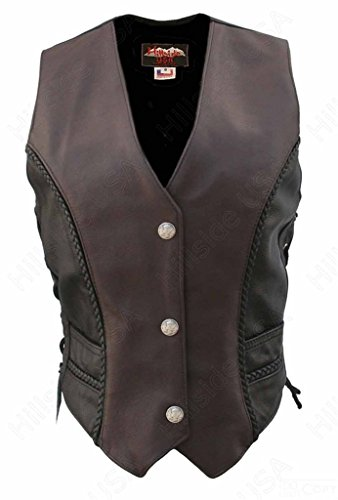 Hillside USA Ladies Black Brown Made in USA Naked Leather Motorcycle Vest Mercury Dime Snaps 5XL Tall Brown/Black