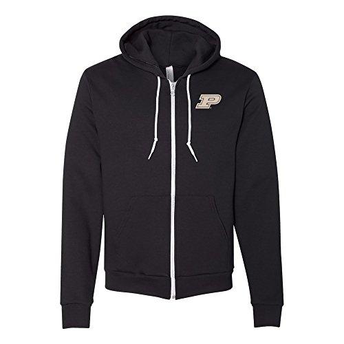 (Purdue Boilermakers Primary Logo Emb American Apparel Full-Zip Hoodie - Large - Black)