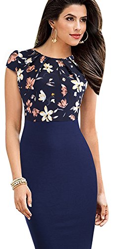 Merope J Womens Printed Ruffles Neck OL Pencil Contrasted Dress (XL, Navy+Flower) -