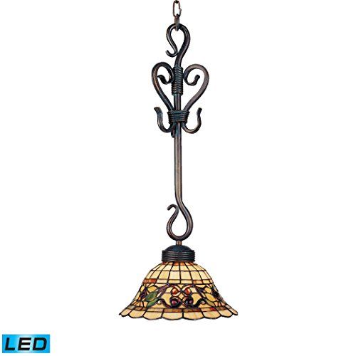 (Alumbrada Collection Tiffany Buckingham 1 Light LED Pendant In Vintage Antique)
