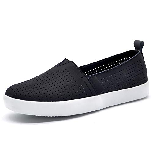 (HKR Womens Loafers Nubuck Leather Slip On Fashion Sneakers Comfortable Flat Working Shoes 7.5 US Black(FY83287heise37))