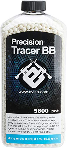 Evike 0.20g Match Grade 6mm Airsoft Tracer BB - Green (Qty: 5600 Rounds) by Evike