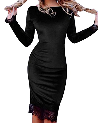 Black Trim Crewneck Women's Dress Cruiize Sleeve Casual Long Bodycon Lace UqSzZxv