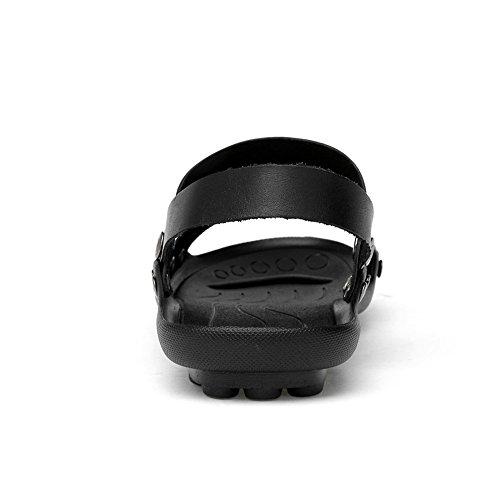Sandale Réglable Hommes Dos Les Doux En Décoration Pantoufle Sandales Nu Unique Véritable Cuir Vamp Pour Noirs Flip De Plage Toile Hommes Pour Flop Avec zzxC7wq6B