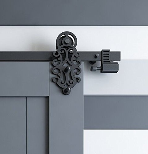 5.5' Springs - DIYHD 5.5FT Ornate Cut Black Iron Sliding Barn Door Hardware With Spring-in Soft Close Stop