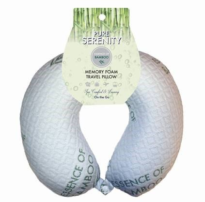 Bon Voyage Bamboo Travel Neck Pillow – Memory Foam, Hypoallergenic, Washable