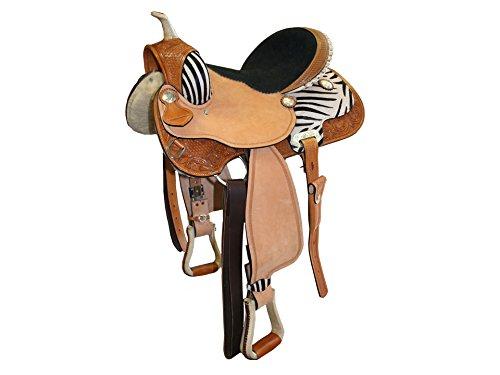 "Tahoe Western Barrel Saddle, Tan/Zebra, 16"""
