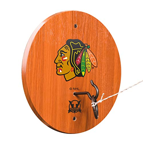 Victory Tailgate NHL Hook & Ring Toss - All Wood Target with Rubbed Bronze Hook and Ring - Chicago Blackhawks (Blackhawks Dart Chicago)