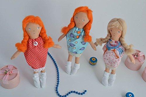 Set Of 3 Handmade Rag Dolls Fabric Soft Toys For Kids Liv...