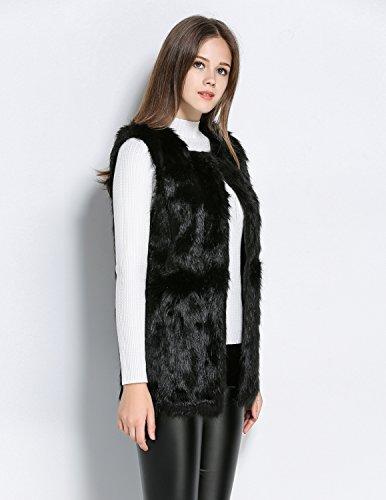 Femmes en Longue Fausse CARINACOCO Coat Noir Manches Manteau Mi Gilet Sans Fourrure Vest Trench Pour Automne Parka Hiver dwnBqU