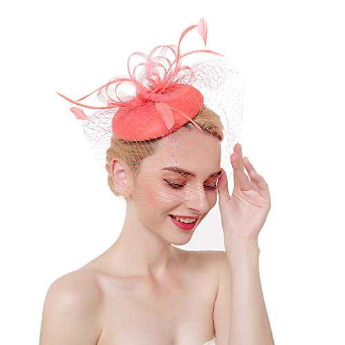 Vintage Fascinators Hat Mini Beret Tea Party Hair Clip Women Kentucky Derby Headwear Wedding Cocktail Headband Coral ()