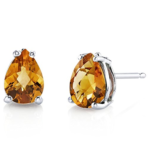 (14 Karat White Gold Pear Shape 1.25 Carats Citrine Stud)