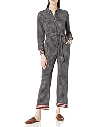 Women's Long Sleeve Stretch Crepe Self Tie Cropped Jumpsuit
