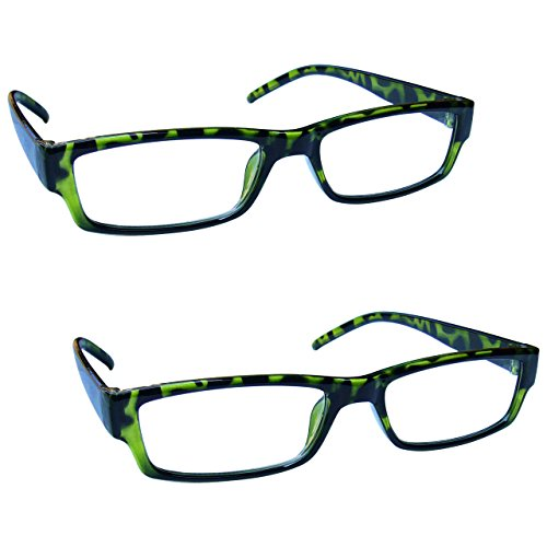 The Reading Glasses Company Green Tortoiseshell Lightweight Comfortable Readers Value 2 Pack Mens Womens RR32-6 +1.00