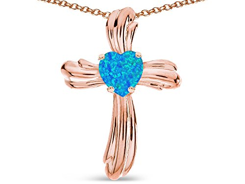 Star K Heart Shape 6mm Blue Created Opal Ribbed Cross Of Love Pendant Necklace 14k Rose Gold