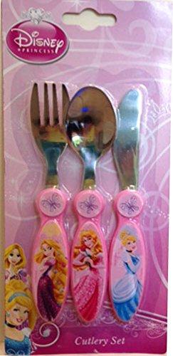 Disney 3 piezas Diseño de princesas Disney Story diciendo Metal cubertería, Rosa: Amazon.es: Hogar