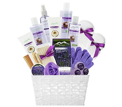 Lavender Kit Bath (Spa Gift Baskets Beauty Gift Basket - Spa Basket, Spa Kit Bed and Bath Body Works Gift Baskets for Women! Bath Gift Set Bubble Bath Basket Body Lotion Gift Set for Holidays (Lavender Coconut Milk))