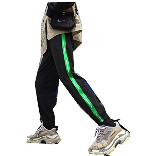 Korea Hip Hop Loose Casual Hot Fluorescent Green Wild Beam Trousers Men Women