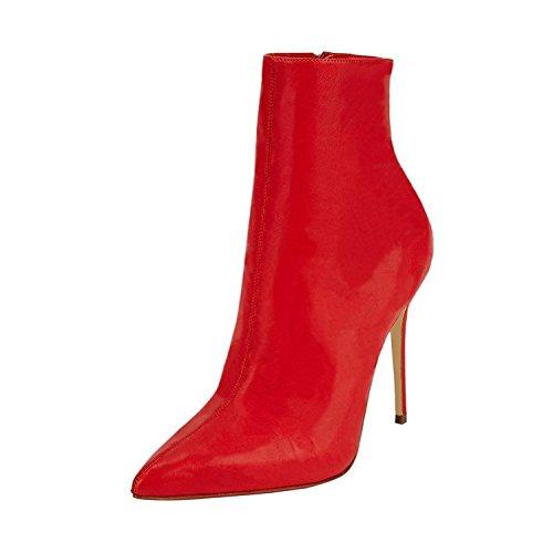 Blocco Stiletti Pompe Talloni Pattini Da Vestono Rosso Jushee Punta Indicati Stivaletti Stivaletti Stiletti Alto Donna zHqWaw