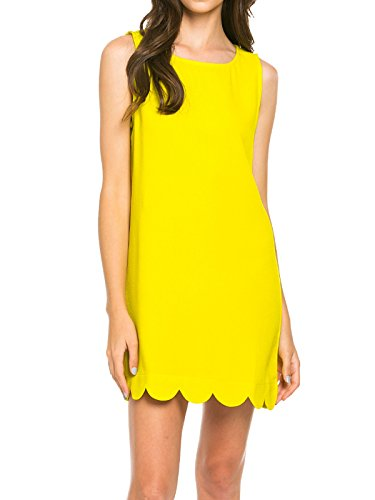Mitto Shop Womens Scalloped Hem Sleeveless Dress Hot Pink (Small, Lime) (Audrey Scalloped)