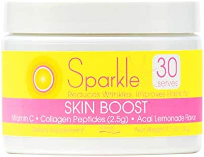 Sparkle Skin Boost Acai Lemonade Verisol Collagen Peptides Protein Powder Vitamin C Supplement Drink