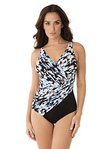 Miraclesuit Women's Swimwear Madagascar Oceanus Wrap Style V-Neckline One Piece Swimsuit, Multicolored, 10 ()
