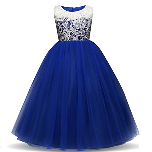 (Dress for Little Girls 7-8 Long Bridesmaid Lace Dresses Ball Gown 8 Years Old Summer Wedding Pageant Dress for Kids Blue Lace Tutu Tulle Girl Special Occasion Dresses Size 7-9)