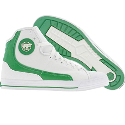 PF Flyers Men's Glide Sneaker,White/Green/White,8 M (Pf Glide Flyers)