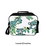 Fashion Custom Lunch Bag Tote Bag,Monkeys and Chimpanzees Playing with Swing in Forest Jungle Life Cartoon Green Brown 8.3inch,Lunch Organizer Lunch Holder For Unisex Adults