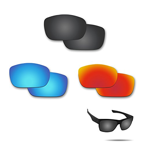 Fiskr Anti-Saltwater Polarized Replacement Lenses for Oakley TwoFace Sunglasses 3 Pair Pack (Oakley Two Face Clear Lenses)