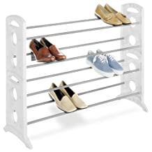 Whitmor 6486-1744-WHT Floor Shoe Stand, White, 20-Pair