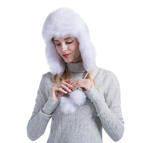 Genda 2Archer Women's Warm Outdoor Faux Fur Russian Earflap Hat with Pom Pom (White)