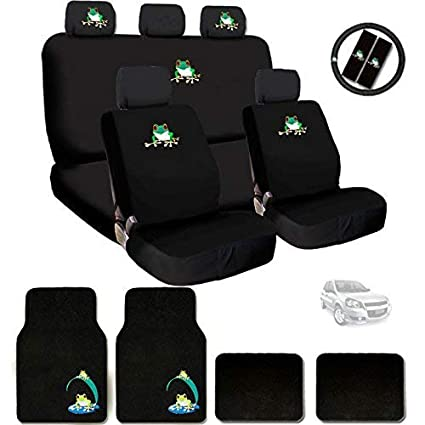 yupbizauto new embroidery frog car seat cover headrest and steering wheel cover floor mats gift set