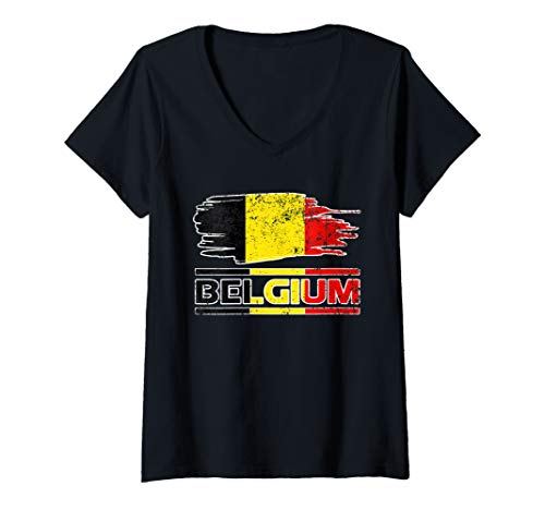 Womens BELGIUM FLAG Gift Pride Patriotic Nation Souvenir Land Love V-Neck T-Shirt (Souvenir Nation)