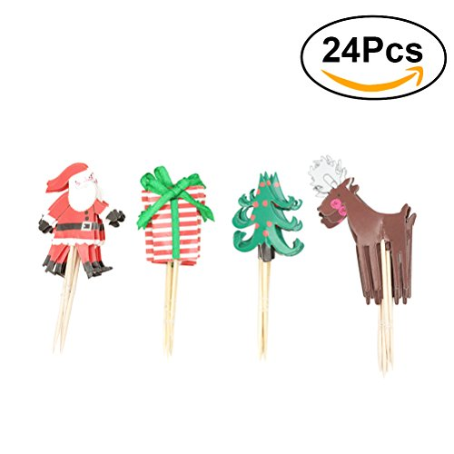 Tinksky Cupcake Topper Decorative Santa Claus Cupcake Picks for Christmas Decoration party favors (Cake Ornaments Decorations)