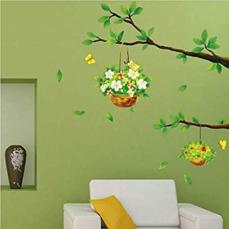 GHUJFDB Pegatinas De Pared Desmontables Salón Rincón De La Pared Color De La Historieta Ramas De Los Árboles Verdes Flor Verde Cesta Flor